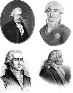 (Left to Right)  Gui-Jean-Baptiste Target, Raymond Desèze, François Denis Tronchet, and Guillaume-Chrétien de Lamoignon de Malesherbes, Public Domain