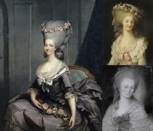 Paintings of Princesse de Lamballe, Callet (left), Rioult (top right), and Le Brun (bottom left), Public Domain