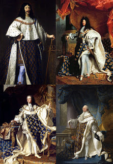 (Left to Right and Top to Bottom) Louis III, Louis XIV, Louis XV, and Louis XVI