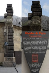 Remaining Column of La Force Prison, Close-up Detail of Wall, and Histoire de Paris Plaque, Author's Collection