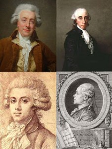 (Top to Bottom and Left to Right) Claude Nicolas Ledoux, Jean Sylvain Bailly, Pierre Victurnien Vergniaud, and Simon-Nicolas-Henri Linguet, Public Domain