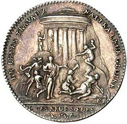 """A Token from """"Les Neuf Sœurs"""" (1783), Courtesy of Wikipedia"""