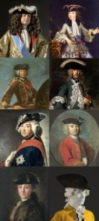 Tricornes (left to right and top to bottom) 1685, 1717, 1733, 1740, 1750, 1764, 1770, and 1780, Author's Collection