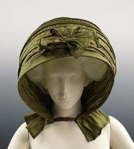 A Green Silk Calash Bonnet, 1790, Courtesy of Metropolitan Museum