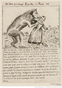 """""""The Beast of Gévaudan"""" Attacking a Woman"""