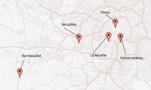 "Map of Locations in ""Marie Antoinette's Confidante,"" Author's Collection"