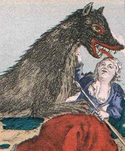 "Woman Fighting off ""The Beast of Gévaudan"""