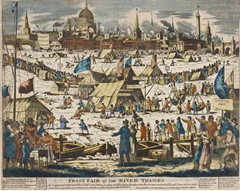 Winter of 1813-1814 - Frost Fair on the Thames, Courtesy of the British Museum
