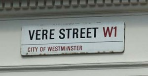 Vere Street Sign in Westminster, Courtesy of Wikipedia