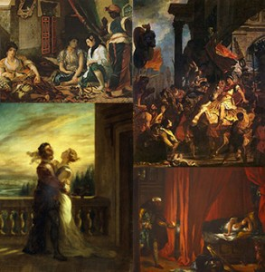 """(Left to right and top to bottom) """"Women of Algiers in their Apartment,"""" """"Trajan's Justice, """"The Farewell of Romeo and Juliet,"""" and """"Othello and Desdemona,"""" Public Domain"""