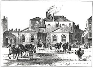 Meux Brewery on Tottenham Court Road in 1830, Public Domain.
