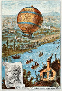 First untethered balloon flight, by Rozier and d'Arlandes on 21 November 1783, Courtesy of Wikipedia