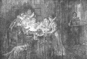 Family Playing Snap-dragon, Public Domain