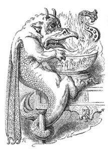 Fanciful Image of a Dragon Playing the Christmas Game Snap-dragon From 1879