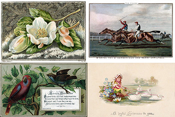 Victorians Cards Celebrating the Christmas Season with Flowers, Horse Racing, Birds, and a Child with Swans