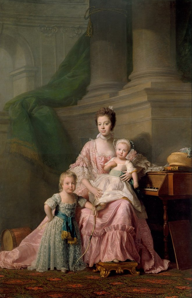 Queen Charlotte and two of her children.