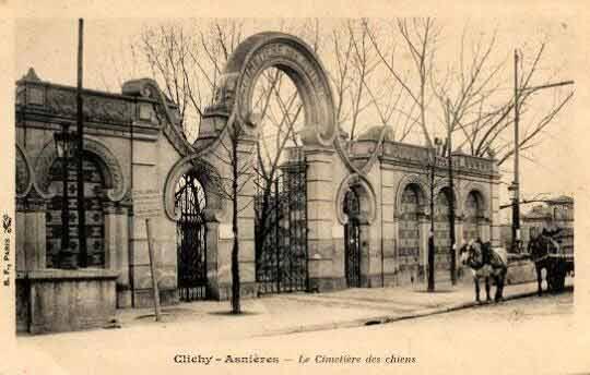 first pet cemetery - Postcard of Cimetière des Chiens et Autres Animaux Domestiques.