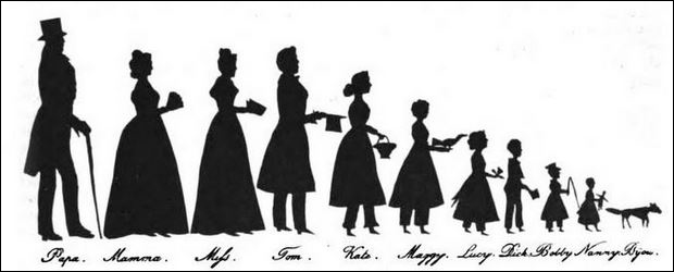 Auguste Edouart - example of a silhouette family by him.