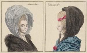 calash bonnet - La Caleche ordinaire (left) and Hèrisson couvert d'une Caleche retroussèe (right)