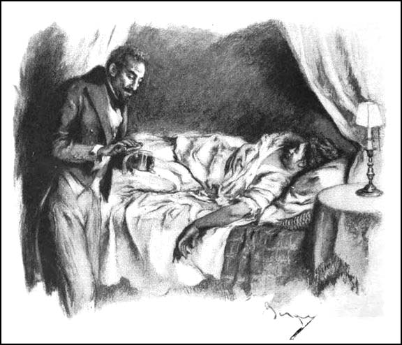 Dr. Edmond Pommerais visiting Madame de Paw on her death bed