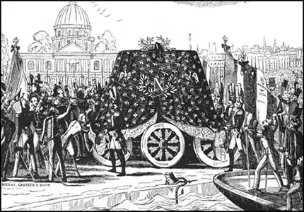 Importance of bees to Napoleon - funeral cortege with the mantle of bees