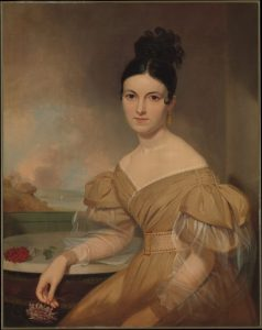 Gigot or leg of mutton sleeves in painting of Mrs. Winfield Scott