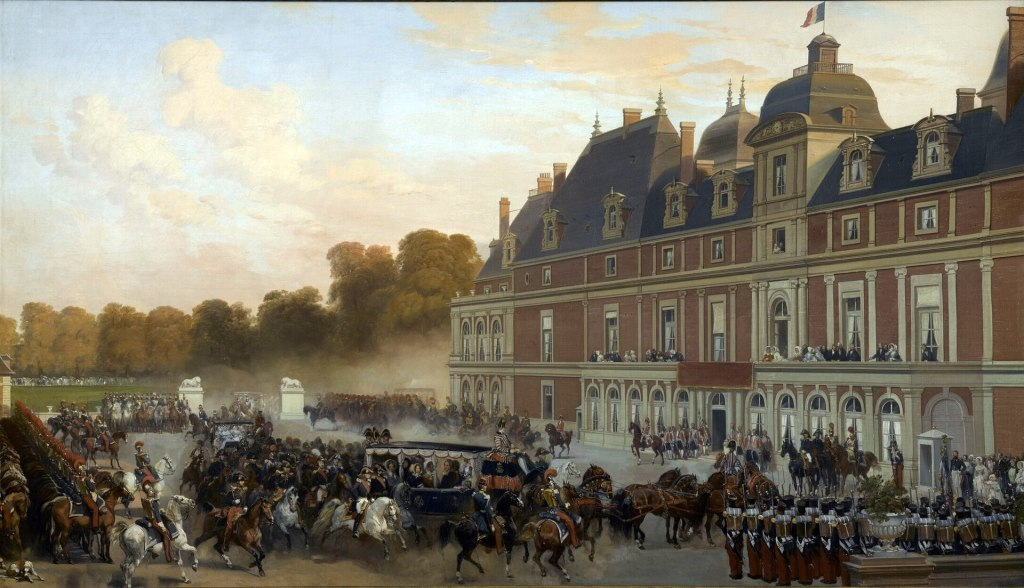 Queen Victoria's visit with her arriving at the chateau d'Eu