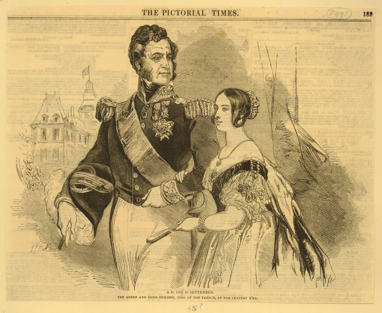 Queen Victoria's visit - King Louis Philippe I with Queen Victoria on his arm