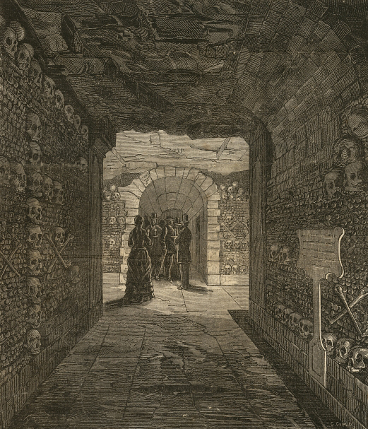 Paris Catacombs from iniside in 1876