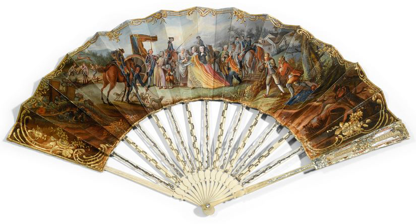 French royal hunt of 1773 - ivory and mother of pearl fan