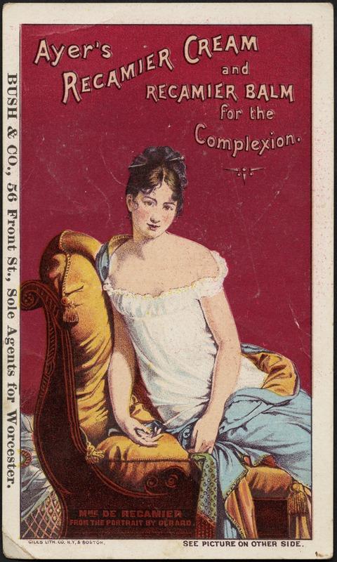 Madame Recamier trade card for Ayer's Recamier cream