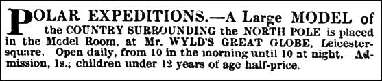 Wyld's Great Globe - advertisement