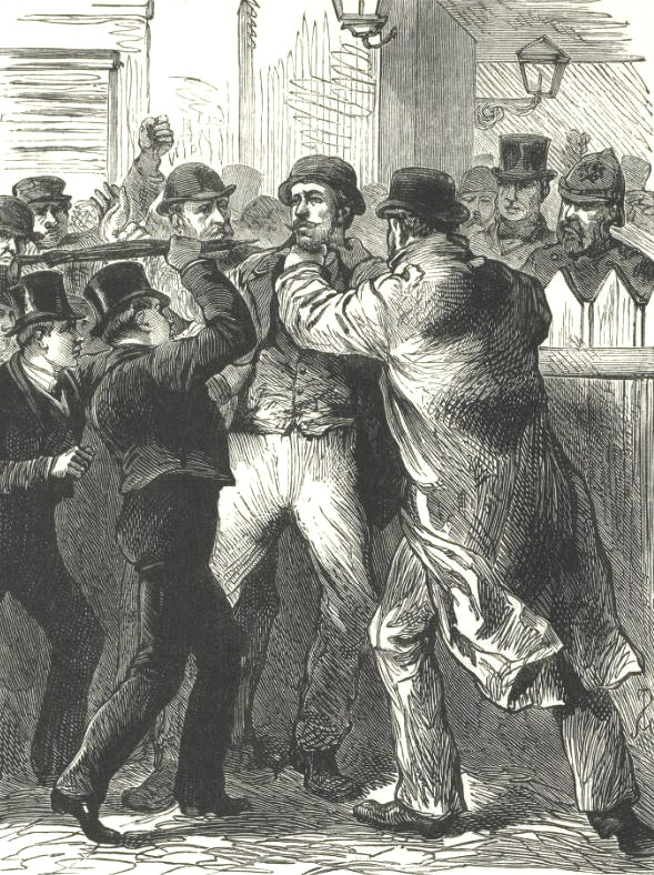 Roderick Maclean being seized after the assassination attempt.