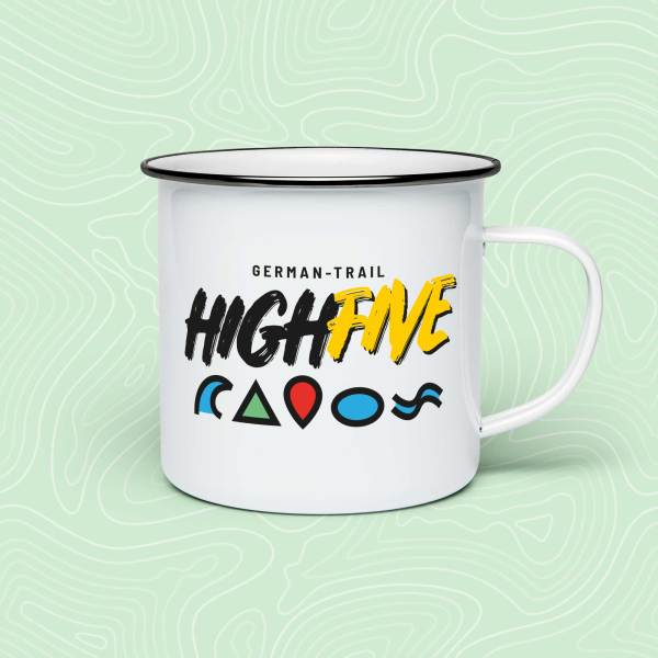 German-Trail High Five Emaille-Becher Tasse