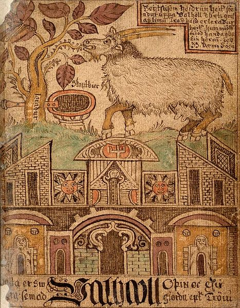 Heithrun, the she-goat who lives on the twigs of the tree Lærath (presumably Yggdrasil), and daily gives mead for the heroes in Valhall