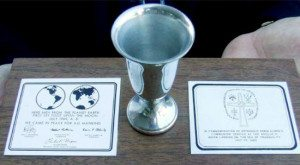 Webster Presbyterian Church replica of Aldrin's communion cup.