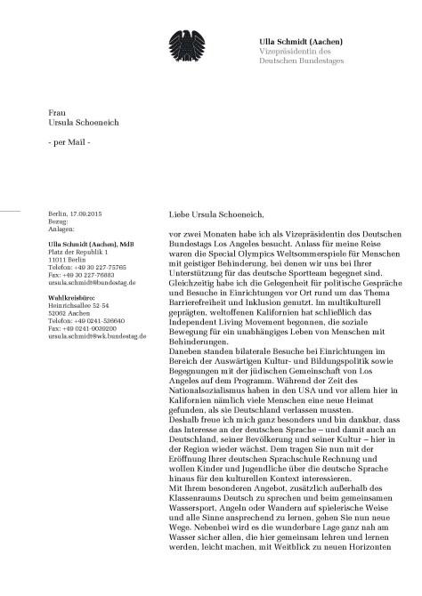 Vizepraesidentin des Deutschen Bundestages Ulla Schmidt Page 1