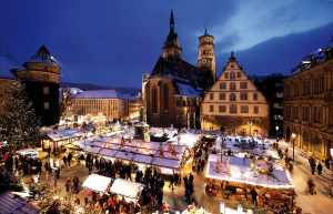 Weihnachtsmarkt Christmas Fair at night, Stuttgard, Germany