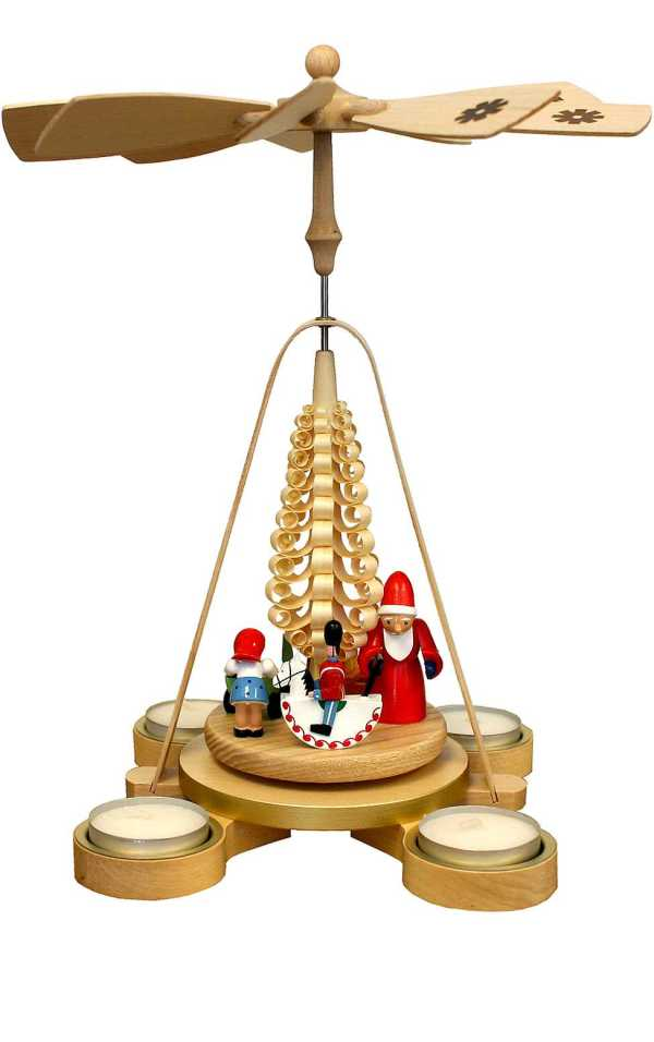 Santa with Toys and tree Christmas Pyramid
