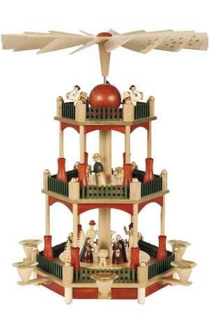 German Traditional 3-tier Nativity Pyramid