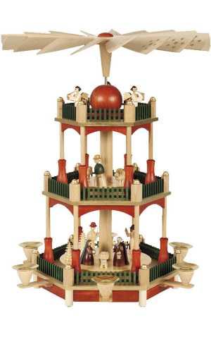German Traditional 3-tier Nativity Pyramid