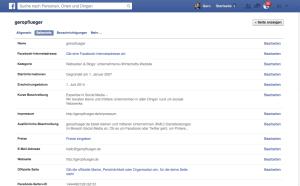 So sehen die Einstellungsmöglichkeiten einer Facebook-Seite aus.
