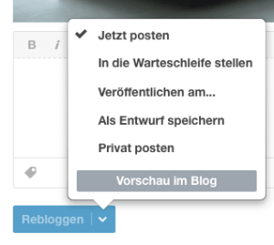 Tumblr-Postmöglichkeiten