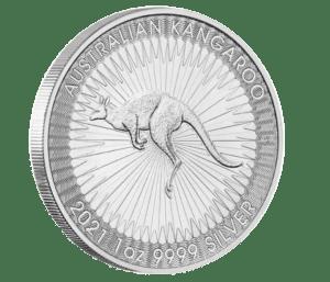 2021 1oz Silver Kangaroo coin obverse edge