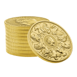 2021 Queens Beasts Completer Coin 1oz Gold stack