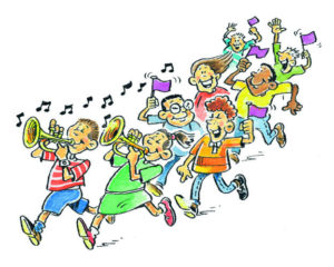 CARTOON PARADE OF CHILDREN-ILLUSTRATION