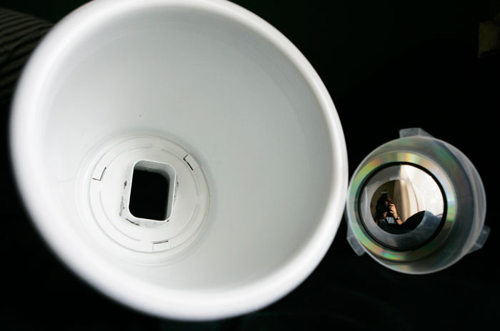 The interior of the dish with the reflector off and set to the side.