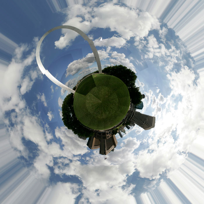 Photoshopped version of the 360 panoramic of the St. Louis Arch grounds. Photoshop left sloppy merge lines and caused signifcant distortion. ©Max Gersh 2009
