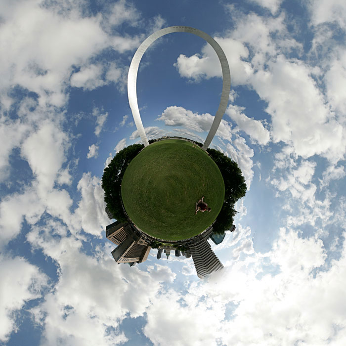 Stereographic projection of the 360 panoramic of the St. Louis Arch grounds. All merge lines have vanished and the distortion is so minimal that you can even clearly see my friend sitting on the grass meditating. ©Max Gersh 2009
