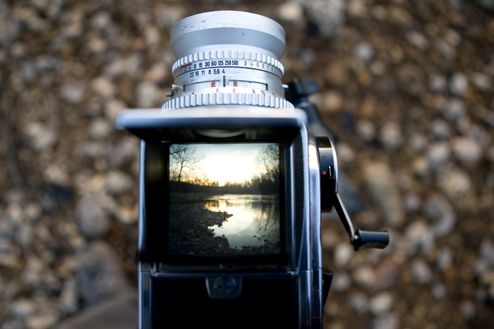 Looking down at the ground glass of a 1976 Hasselblad 500 C/M at a stream in Potosi, MO. ©2009 Max Gersh